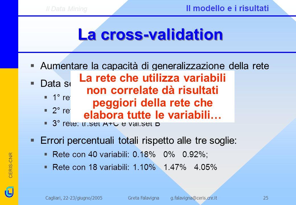 CERIS-CNR Greta Falavigna g.falavigna@ceris.cnr.itCagliari, 22-23/giugno/200525 La cross-validation Aumentare la capacità di generalizzazione della re