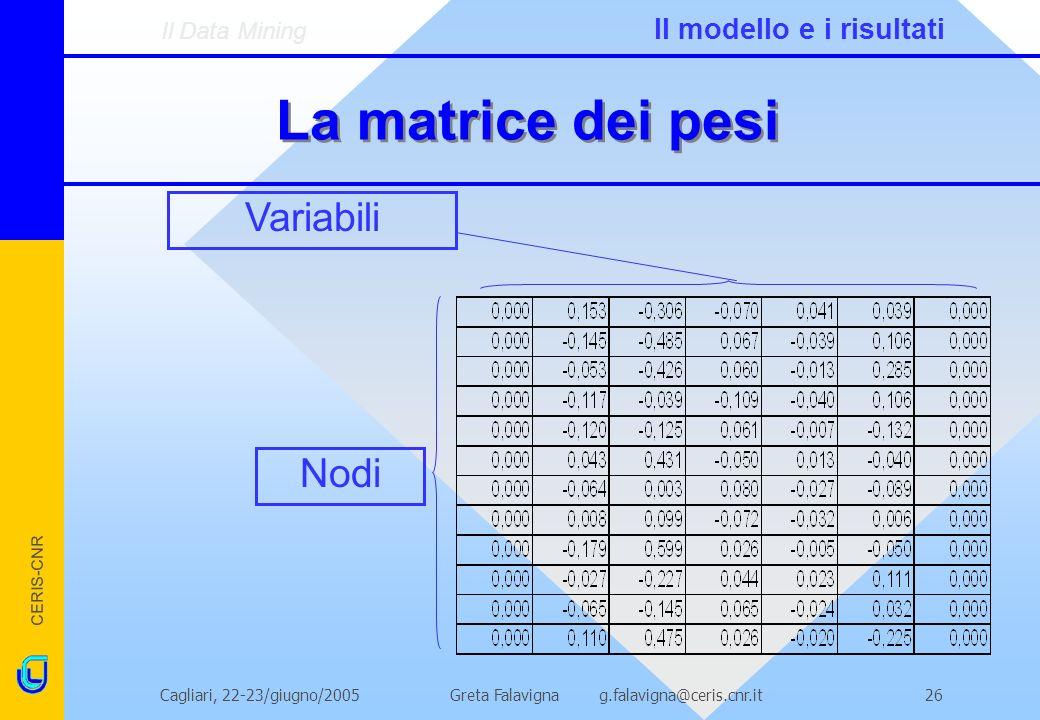 CERIS-CNR Greta Falavigna g.falavigna@ceris.cnr.itCagliari, 22-23/giugno/200526 La matrice dei pesi Variabili Nodi Il Data Mining Il modello e i risultati