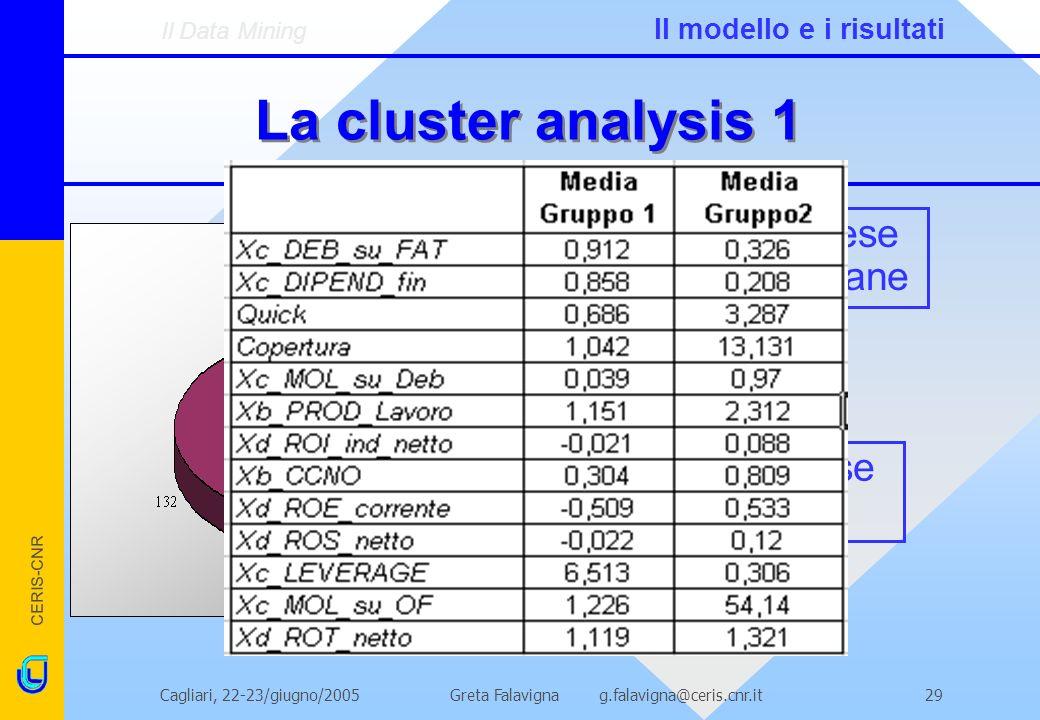 CERIS-CNR Greta Falavigna g.falavigna@ceris.cnr.itCagliari, 22-23/giugno/200529 La cluster analysis 1 Imprese non sane Imprese sane Il Data Mining Il modello e i risultati