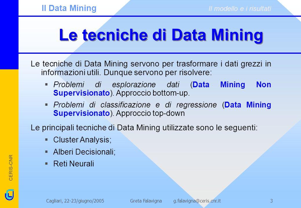 CERIS-CNR Greta Falavigna g.falavigna@ceris.cnr.itCagliari, 22-23/giugno/20053 Le tecniche di Data Mining Le tecniche di Data Mining servono per trasformare i dati grezzi in informazioni utili.