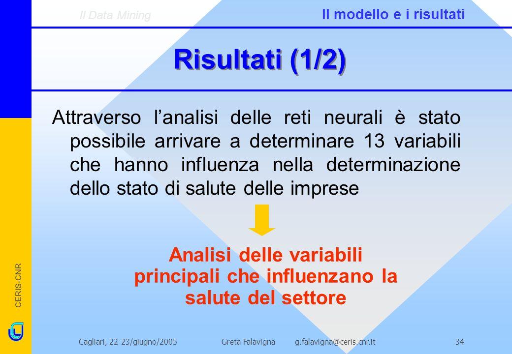 CERIS-CNR Greta Falavigna g.falavigna@ceris.cnr.itCagliari, 22-23/giugno/200534 Risultati (1/2) Attraverso lanalisi delle reti neurali è stato possibi