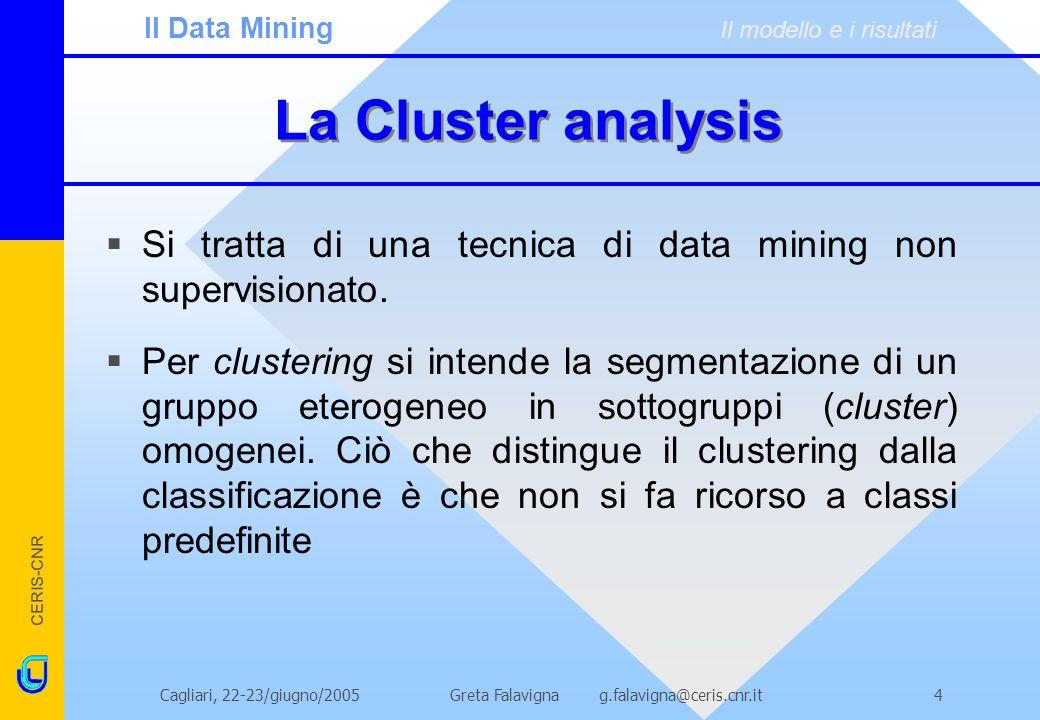 CERIS-CNR Greta Falavigna g.falavigna@ceris.cnr.itCagliari, 22-23/giugno/20054 La Cluster analysis Si tratta di una tecnica di data mining non supervi