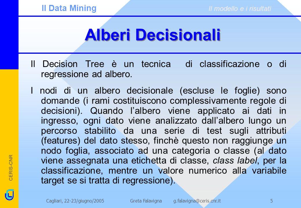 CERIS-CNR Greta Falavigna g.falavigna@ceris.cnr.itCagliari, 22-23/giugno/20055 Alberi Decisionali Il Decision Tree è un tecnica di classificazione o d