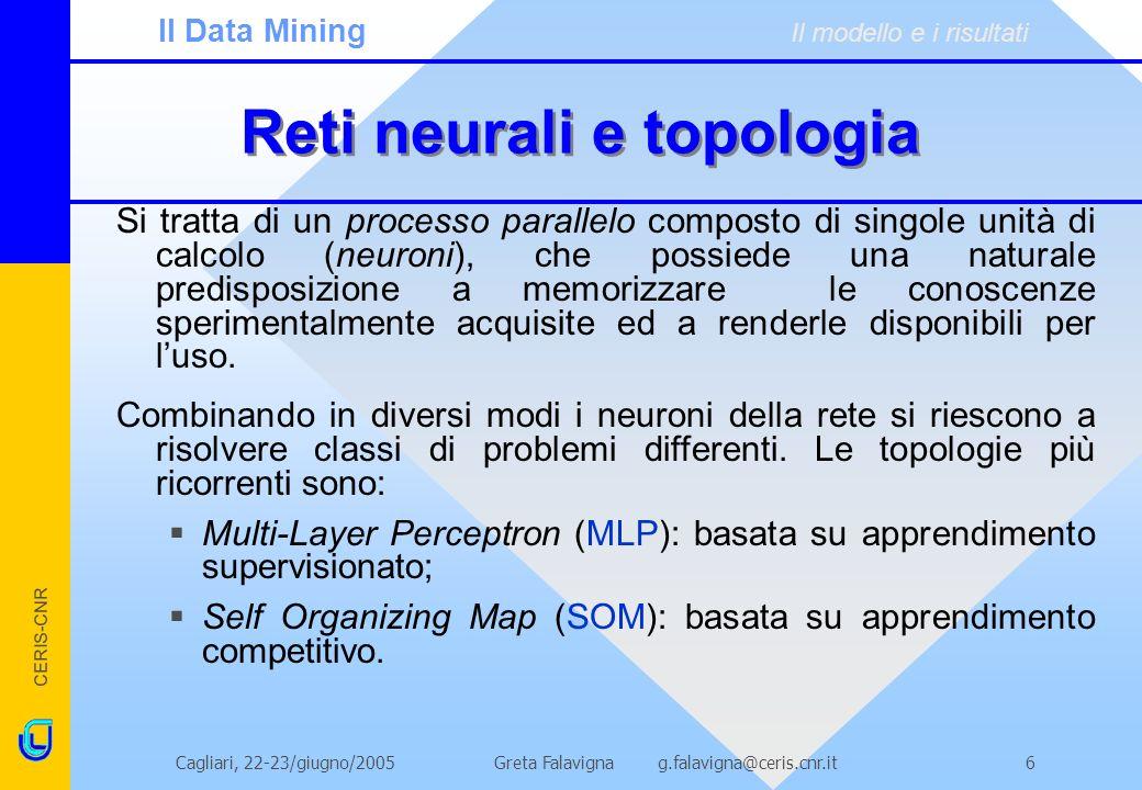 CERIS-CNR Greta Falavigna g.falavigna@ceris.cnr.itCagliari, 22-23/giugno/20057 Reti neurali: caratteristiche Le caratteristiche di una rete neurale sono: Training: la conoscenza è acquisita dalla rete mediante un processo di apprendimento; Aggiornamento dei pesi: le connessioni neuronali (pesi sinaptici) sono utilizzate per memorizzare le informazioni acquisite; Complessità; Non-linearità di tipo speciale: nel senso che è distribuita allinterno della rete.
