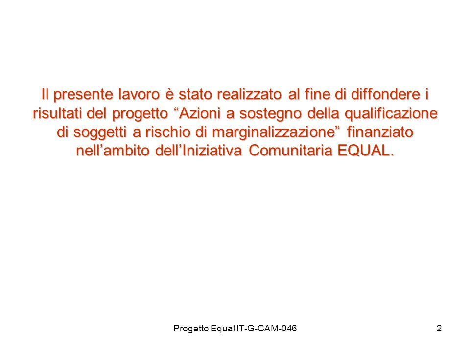 Progetto Equal IT-G-CAM-0462 Il presente lavoro è stato realizzato al fine di diffondere i risultati del progetto Azioni a sostegno della qualificazio