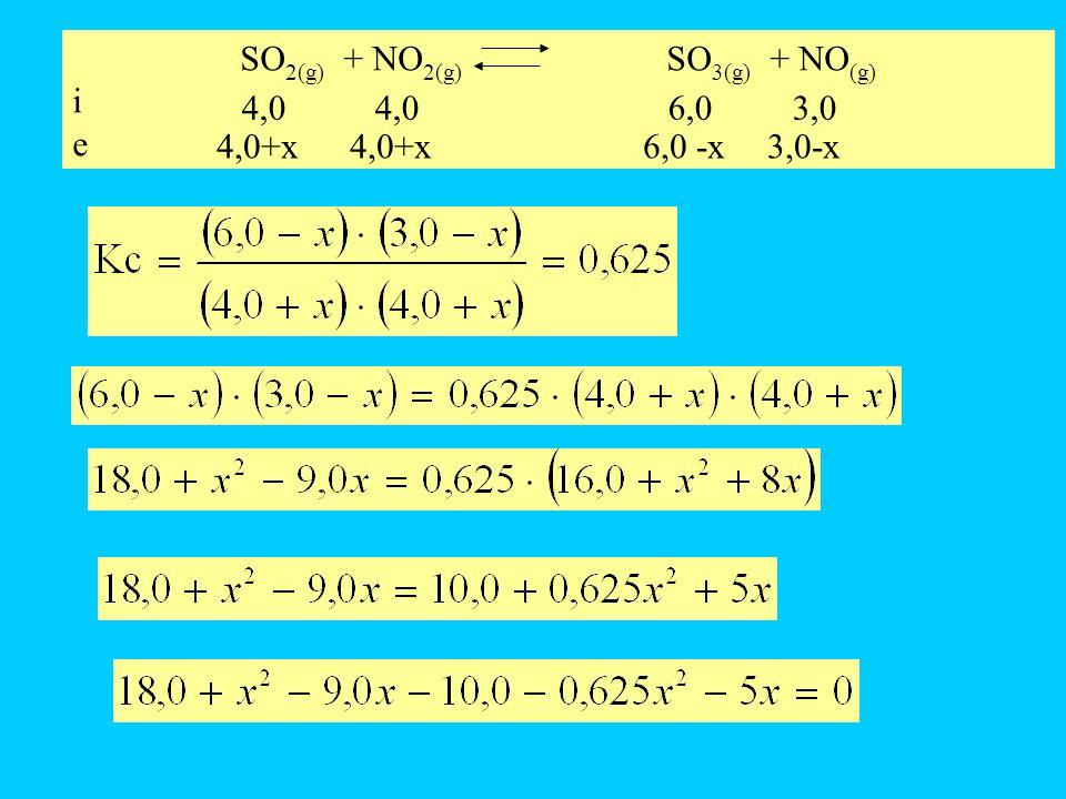 SO 2(g) + NO 2(g) SO 3(g) + NO (g) i e 4,0 4,06,0 3,0 4,0+x 4,0+x6,0 -x 3,0-x