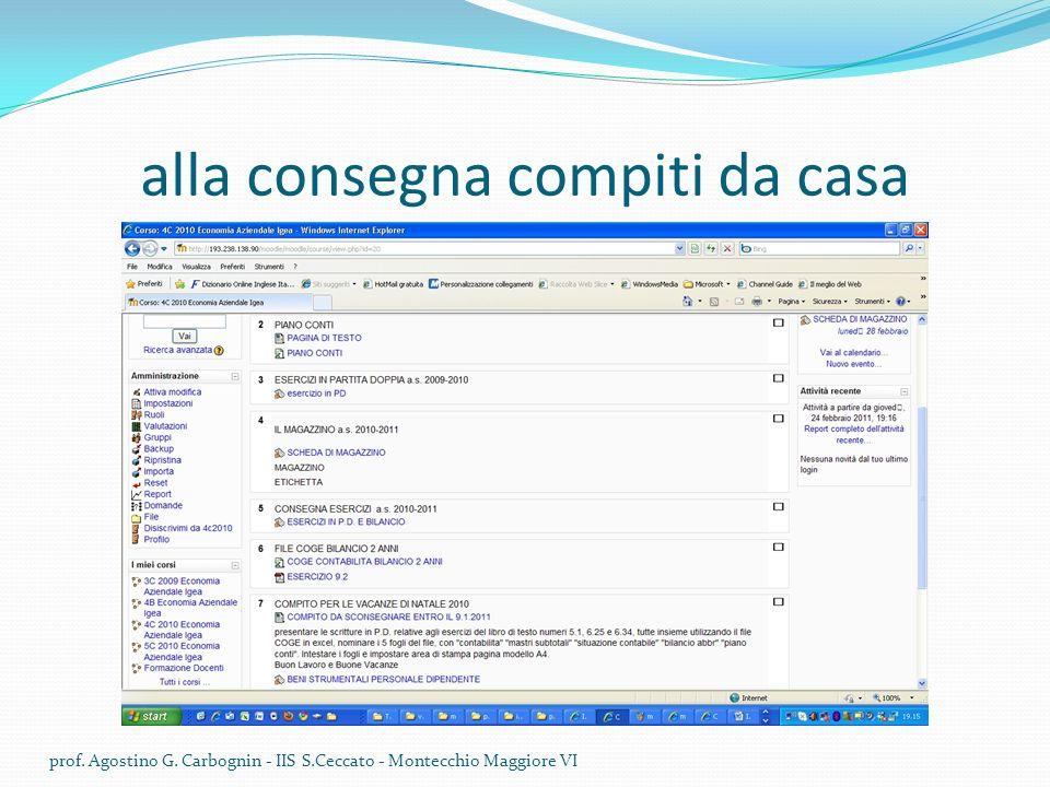 alla consegna compiti da casa prof. Agostino G. Carbognin - IIS S.Ceccato - Montecchio Maggiore VI