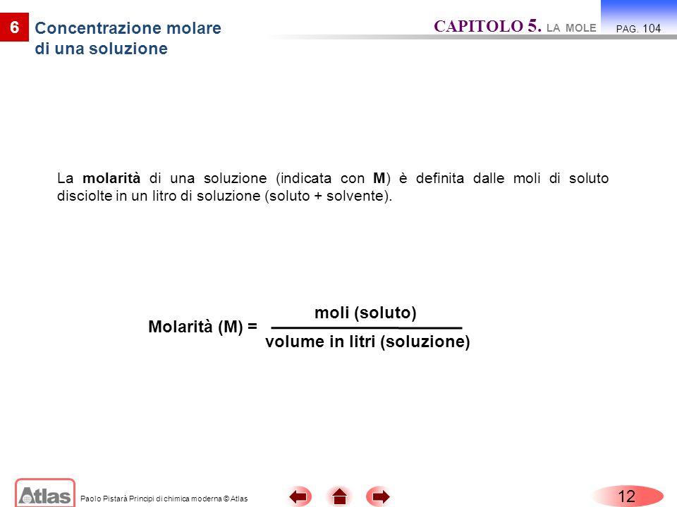 Paolo Pistarà Principi di chimica moderna © Atlas La molarità di una soluzione (indicata con M) è definita dalle moli di soluto disciolte in un litro
