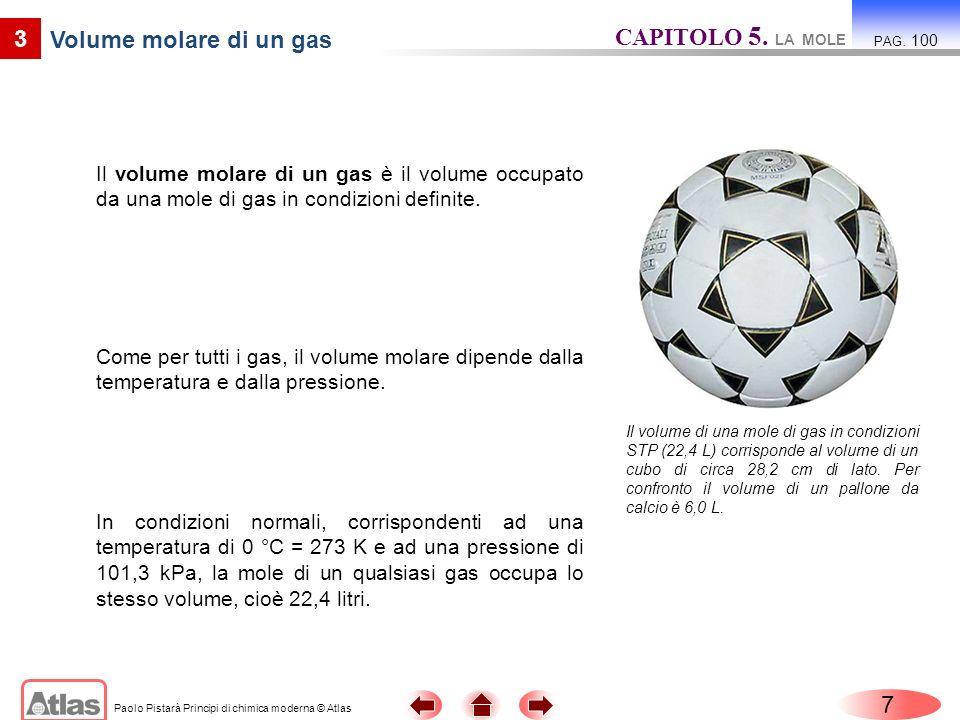 Paolo Pistarà Principi di chimica moderna © Atlas 8 3 Volume molare di un gas Mappa concettuale: La mole CAPITOLO 5.