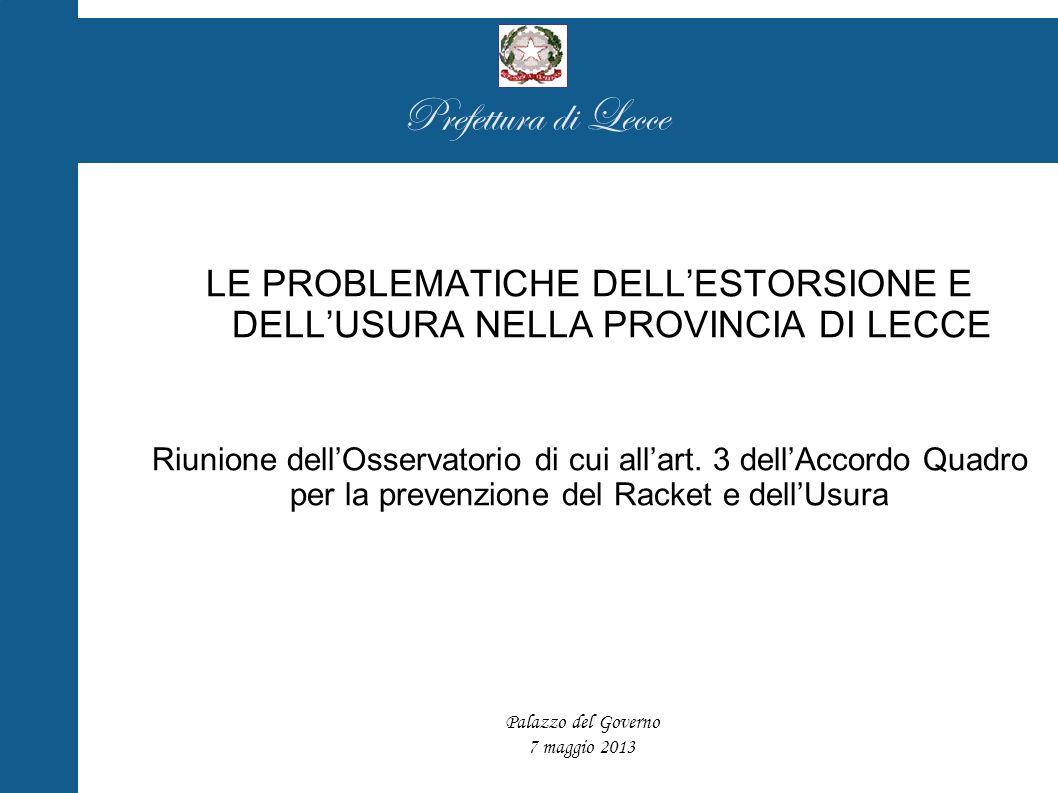 Prefettura di Lecce LE PROBLEMATICHE DELLESTORSIONE E DELLUSURA NELLA PROVINCIA DI LECCE Riunione dellOsservatorio di cui allart.