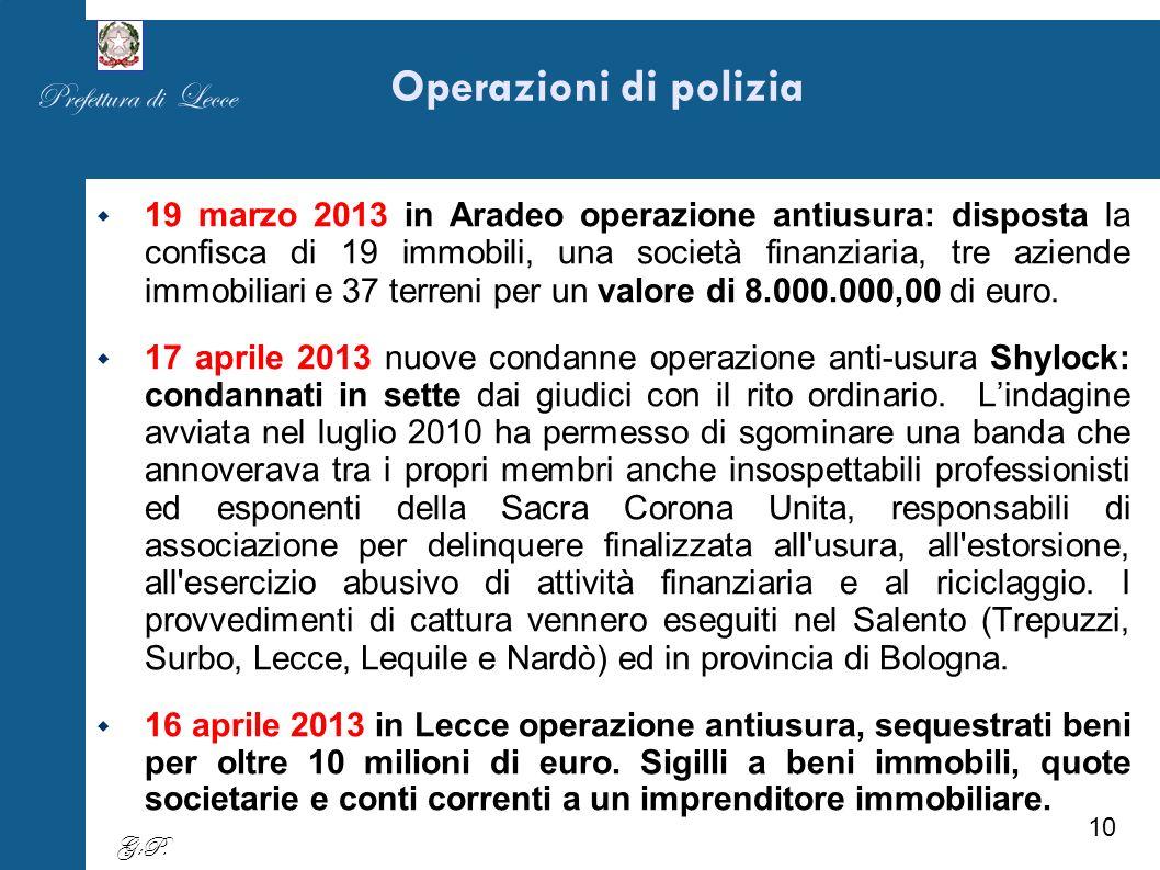 Operazioni di polizia 19 marzo 2013 in Aradeo operazione antiusura: disposta la confisca di 19 immobili, una società finanziaria, tre aziende immobiliari e 37 terreni per un valore di 8.000.000,00 di euro.