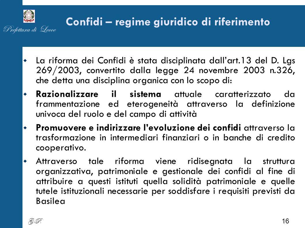 Confidi – regime giuridico di riferimento La riforma dei Confidi è stata disciplinata dallart.13 del D.