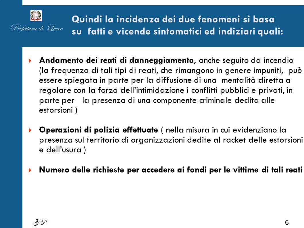 Andamento delittuosità 2010/2011/2012 Dal grafico emerge che i reati più diffusi nella provincia oltre ai furti sono i danneggiamenti con o senza incendi Fonte SDI StatDel1-Fast1 Prefettura di Lecce 7 G:P.