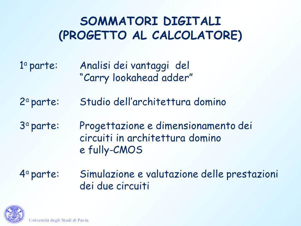 SOMMATORI DIGITALI (PROGETTO AL CALCOLATORE) 1 a parte: Analisi dei vantaggi del Carry lookahead adder 2 a parte:Studio dellarchitettura domino 3 a pa
