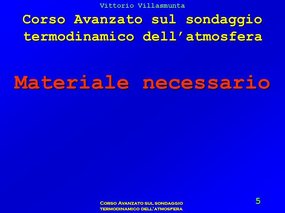 Vittorio Villasmunta Corso Avanzato sul sondaggio termodinamico dellatmosfera 66 Poiché lumidità relativa è del 50%, il suo contenuto reale dacqua sarà: 12 x 50/100 = 6 g