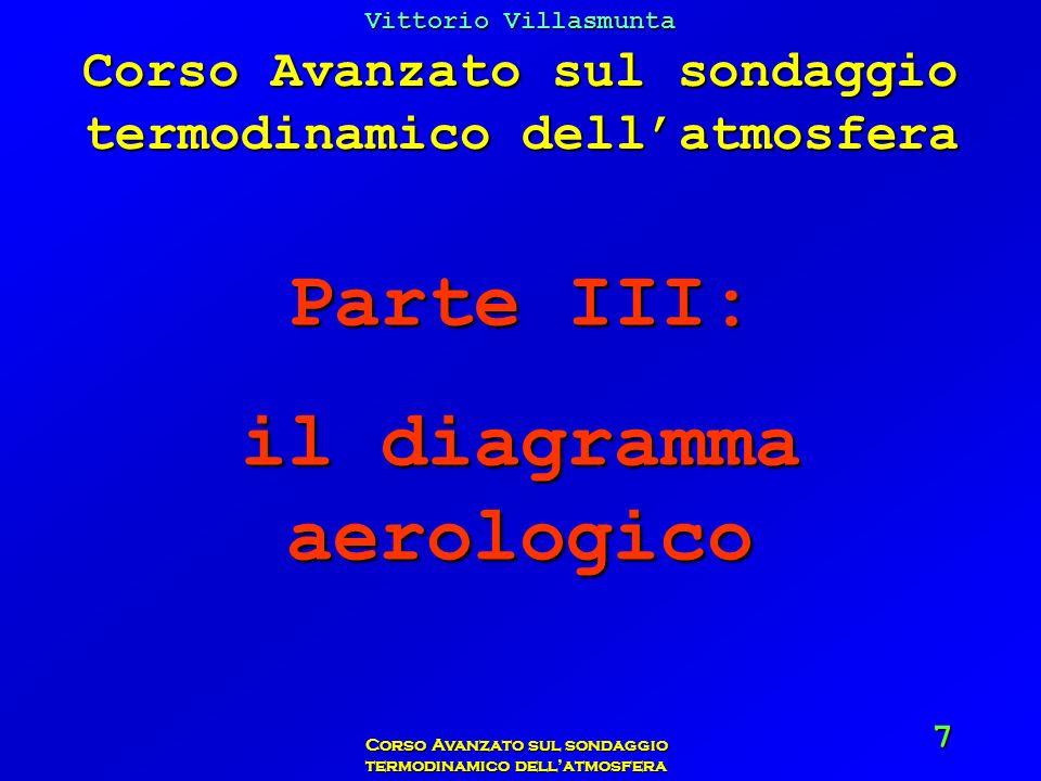 Vittorio Villasmunta Corso Avanzato sul sondaggio termodinamico dellatmosfera 58 Esercizio: Pressione: 1000 hPa Ricava il rapporto di mescolanza alla saturazione per le temperature di 10°C, 12°C, 15°C e 18°C.