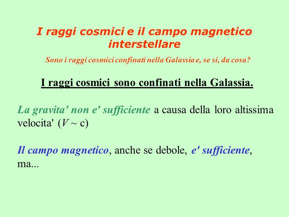 I raggi cosmici e il campo magnetico interstellare Sono i raggi cosmici confinati nella Galassia e, se si, da cosa? I raggi cosmici sono confinati nel