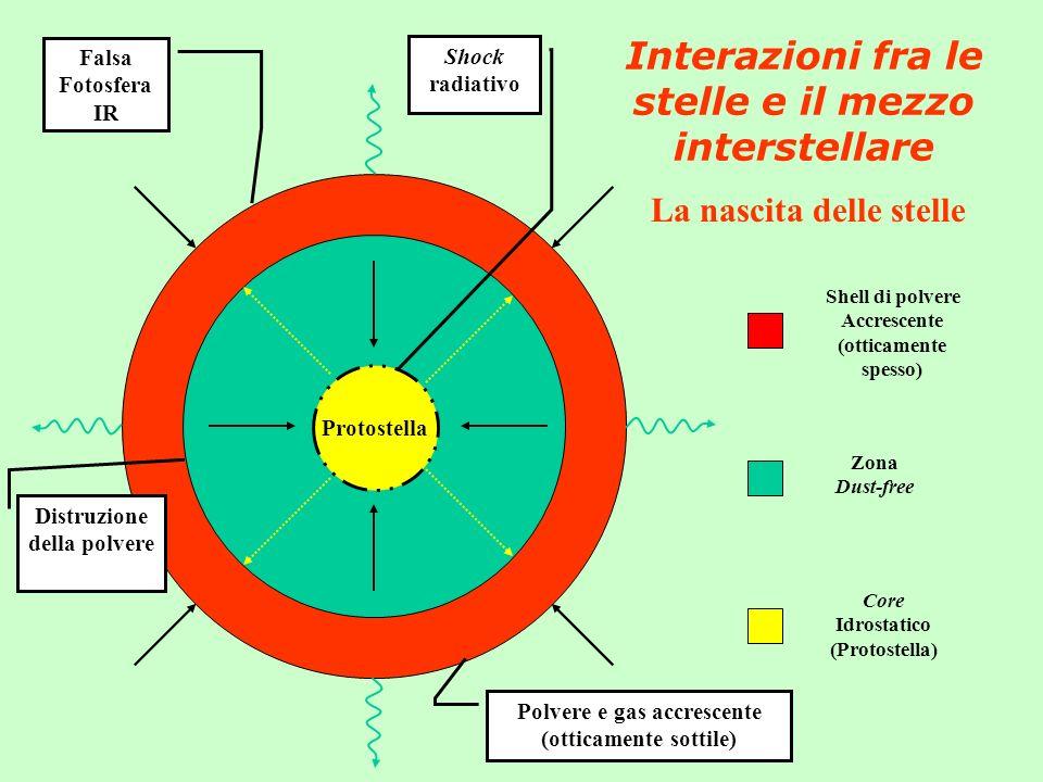 Interazioni fra le stelle e il mezzo interstellare La nascita delle stelle Protostella Core Idrostatico (Protostella) Zona Dust-free Shell di polvere