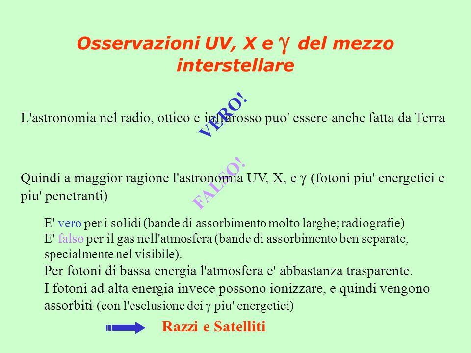 Osservazioni UV, X e del mezzo interstellare L'astronomia nel radio, ottico e infrarosso puo' essere anche fatta da Terra VERO! FALSO! Quindi a maggio