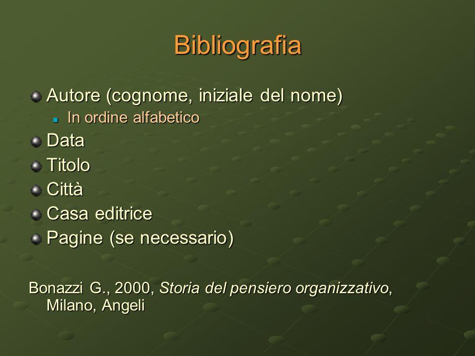 Bibliografia Autore (cognome, iniziale del nome) In ordine alfabetico In ordine alfabeticoDataTitoloCittà Casa editrice Pagine (se necessario) Bonazzi