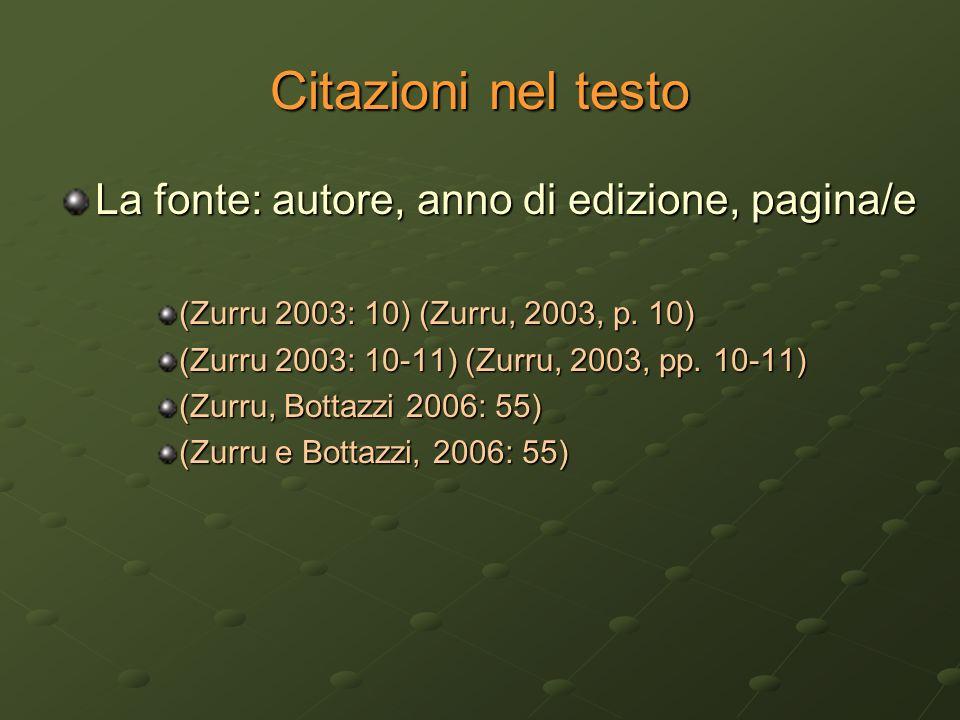 Citazioni nel testo La fonte: autore, anno di edizione, pagina/e (Zurru 2003: 10) (Zurru, 2003, p. 10) (Zurru 2003: 10-11) (Zurru, 2003, pp. 10-11) (Z