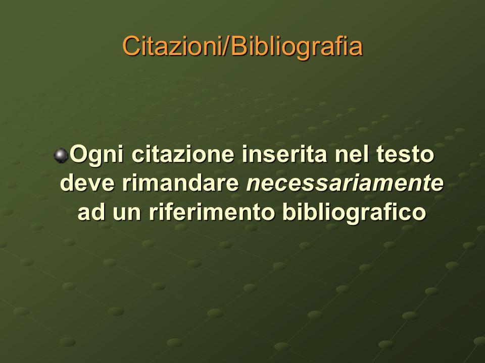 Citazioni/Bibliografia Ogni citazione inserita nel testo deve rimandare necessariamente ad un riferimento bibliografico