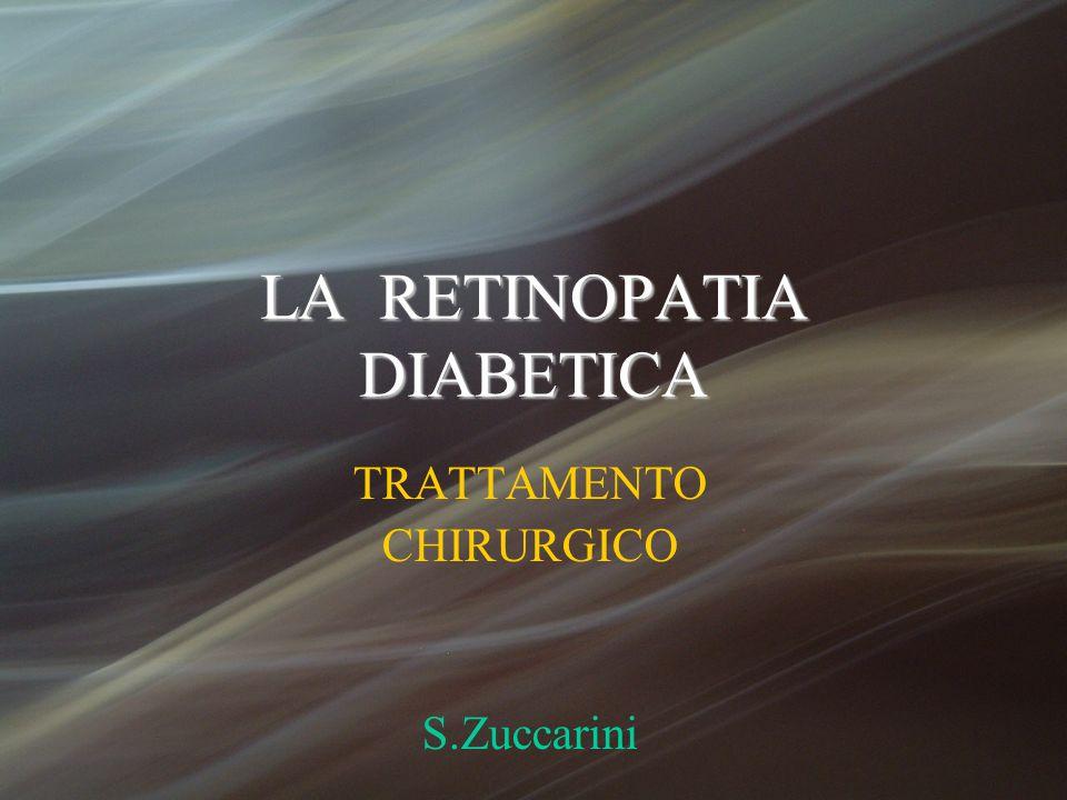 TRATTAMENTO CHIRURGICO Indicazioni classiche per la vitrectomia: DISTACCO MACULARE TRAZIONALE EMOVITREO DISTACCO TRAZIONALE - REGMATOGENO Indicazioni attuali: TRAZIONE MACULARE PROGRESSIVA EDEMA MACULARE EMORRAGIA PREMACULARE