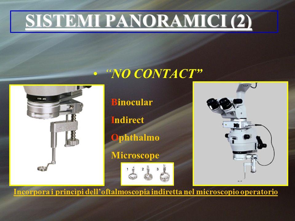 SISTEMI PANORAMICI (2) NO CONTACT Binocular Indirect Ophthalmo Microscope Incorpora i princìpi delloftalmoscopia indiretta nel microscopio operatorio