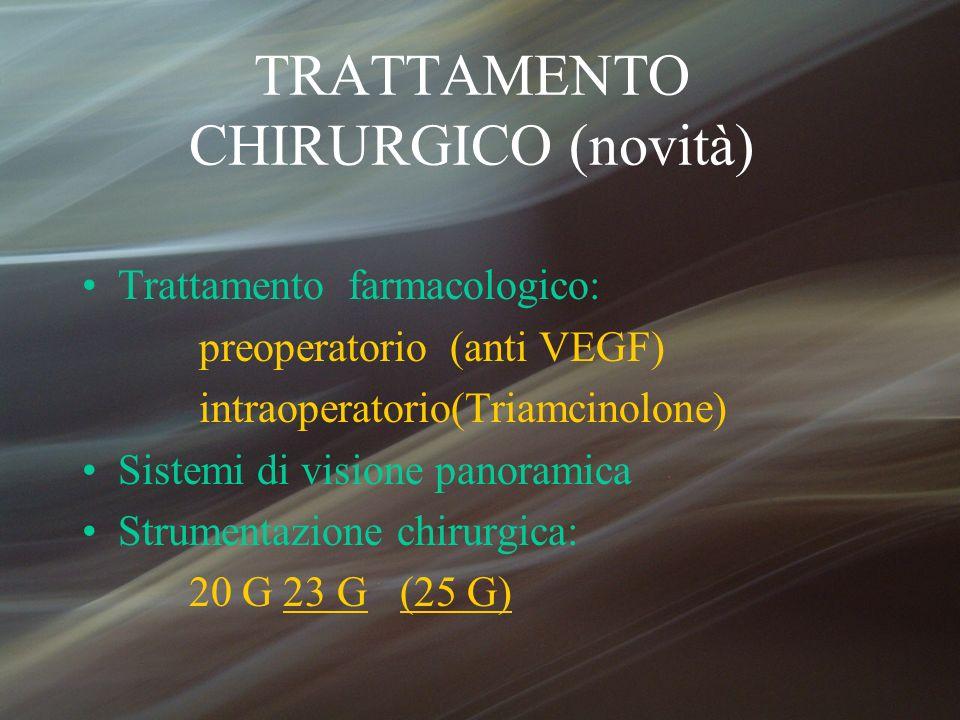 TRATTAMENTO CHIRURGICO (novità) Trattamento farmacologico: preoperatorio (anti VEGF) intraoperatorio(Triamcinolone) Sistemi di visione panoramica Stru