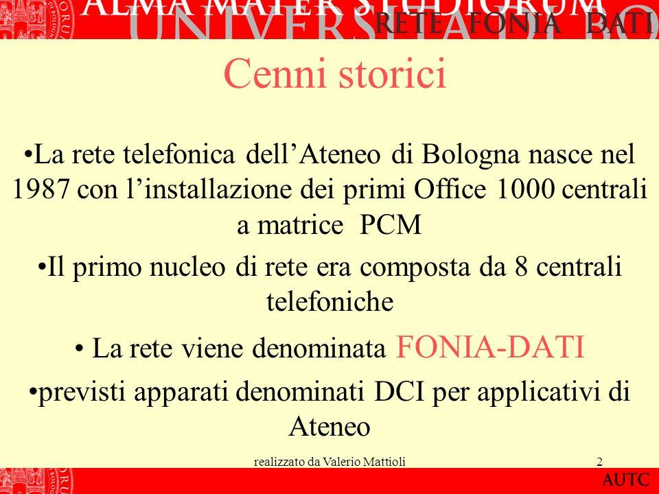 realizzato da Valerio Mattioli2 Cenni storici La rete telefonica dellAteneo di Bologna nasce nel 1987 con linstallazione dei primi Office 1000 central