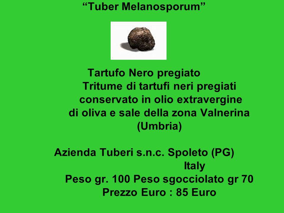 Tuber Melanosporum Tartufo Nero pregiato Tritume di tartufi neri pregiati conservato in olio extravergine di oliva e sale della zona Valnerina (Umbria) Azienda Tuberi s.n.c.