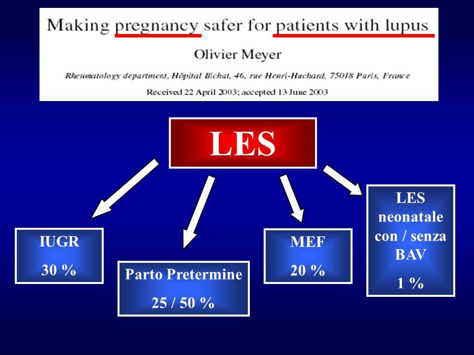 LES LES neonatale con / senza BAV 1 % MEF 20 % Parto Pretermine 25 / 50 % IUGR 30 %