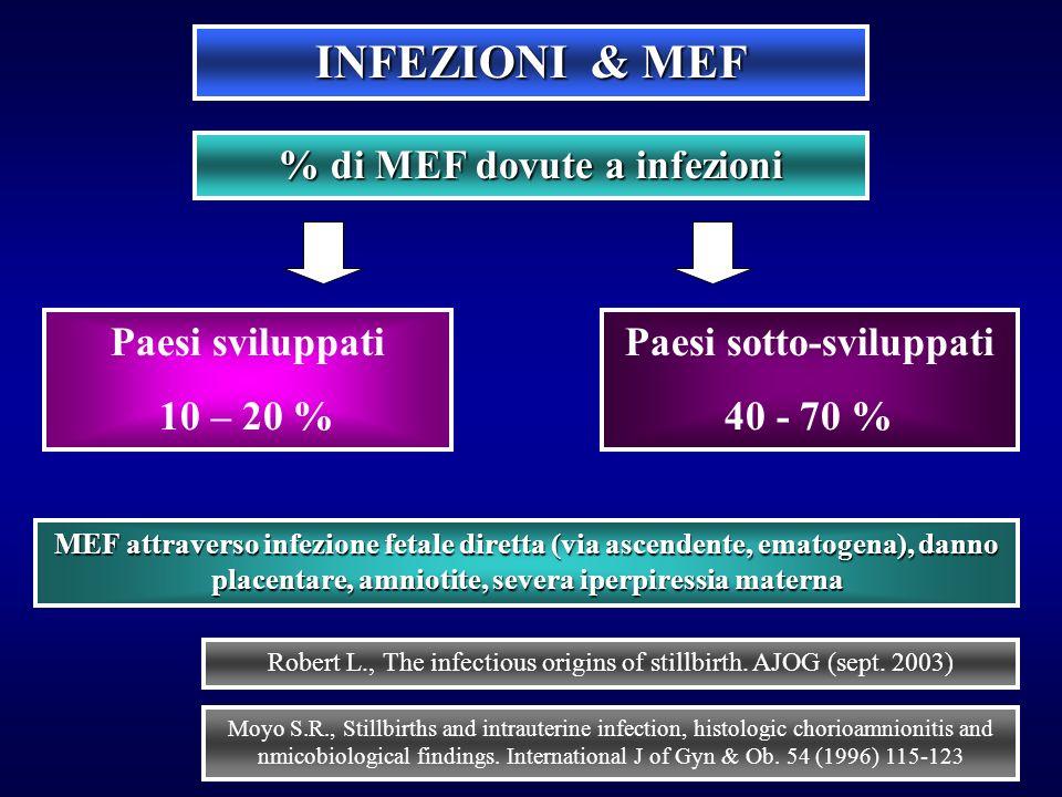INFEZIONI & MEF Paesi sviluppati 10 – 20 % % di MEF dovute a infezioni Paesi sotto-sviluppati 40 - 70 % MEF attraverso infezione fetale diretta (via a