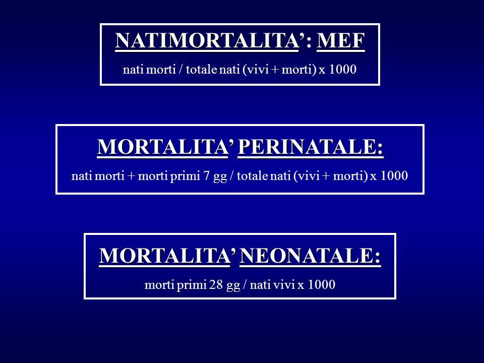 NATIMORTALITAMEF NATIMORTALITA: MEF nati morti / totale nati (vivi + morti) x 1000 MORTALITA PERINATALE: nati morti + morti primi 7 gg / totale nati (