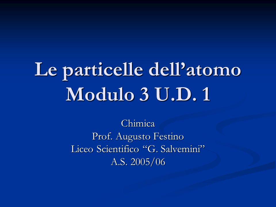 Le particelle dellatomo Modulo 3 U.D. 1 Chimica Prof. Augusto Festino Liceo Scientifico G. Salvemini A.S. 2005/06
