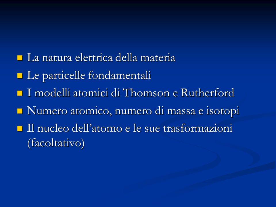 La natura elettrica della materia La natura elettrica della materia Le particelle fondamentali Le particelle fondamentali I modelli atomici di Thomson