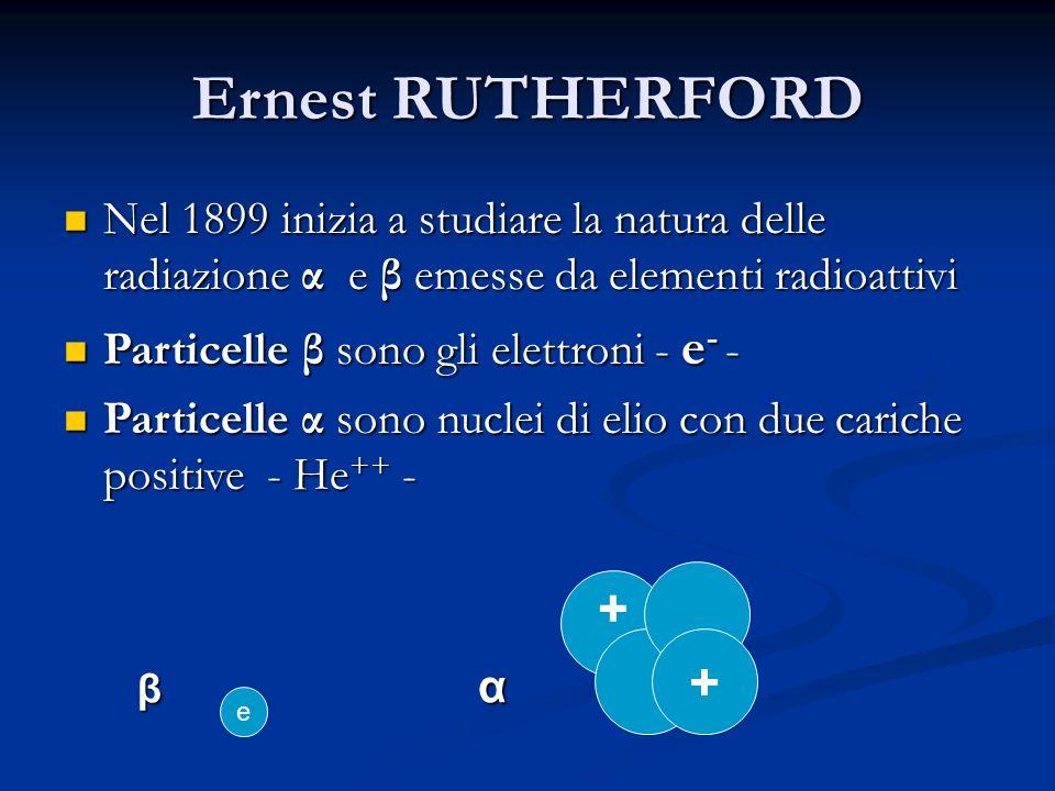 Ernest RUTHERFORD Nel 1899 inizia a studiare la natura delle radiazione α e β emesse da elementi radioattivi Nel 1899 inizia a studiare la natura dell