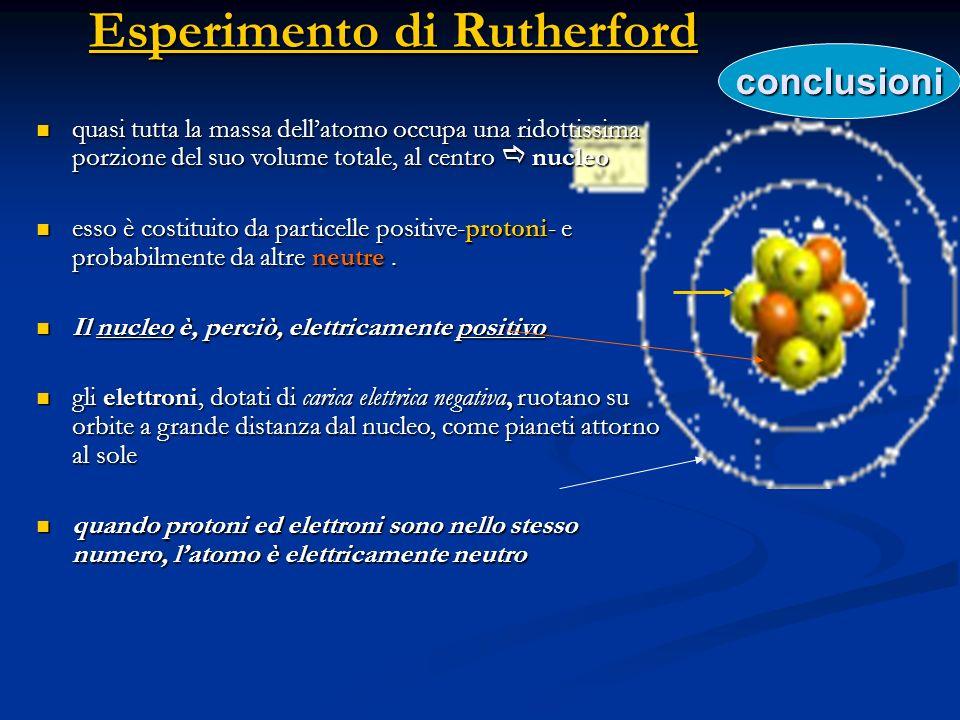 modello atomico di Rutherford (1911) - nel nucleo è concentrata tutta la carica positiva dellatomo e la gran parte della massa di esso - nel nucleo è concentrata tutta la carica positiva dellatomo e la gran parte della massa di esso raggio dellatomo 10 -8 cm raggio dellatomo 10 -8 cm raggio del nucleo 10 -12 cm raggio del nucleo 10 -12 cm - la carica del nucleo corrisponde al numero dei protoni che contiene e viene chiamata - la carica del nucleo corrisponde al numero dei protoni che contiene e viene chiamata il nucleo è 10.000 volte più piccolo dellintero atomo di cui fa parte 10 -12 = 10 -4 10 -8 NUMERO ATOMICO gli elettroni vengono trattenuti dal nucleo mediante forze di natura elettrostatica (coulombiane)