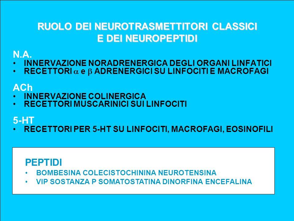 RUOLO DEI NEUROTRASMETTITORI CLASSICI E DEI NEUROPEPTIDI N.A. INNERVAZIONE NORADRENERGICA DEGLI ORGANI LINFATICI RECETTORI e ADRENERGICI SU LINFOCITI