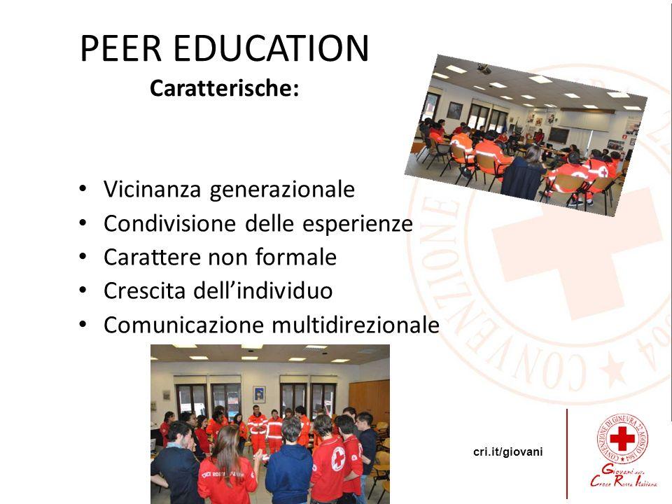 cri.it/giovani PEER EDUCATION Caratterische: Vicinanza generazionale Condivisione delle esperienze Carattere non formale Crescita dellindividuo Comuni