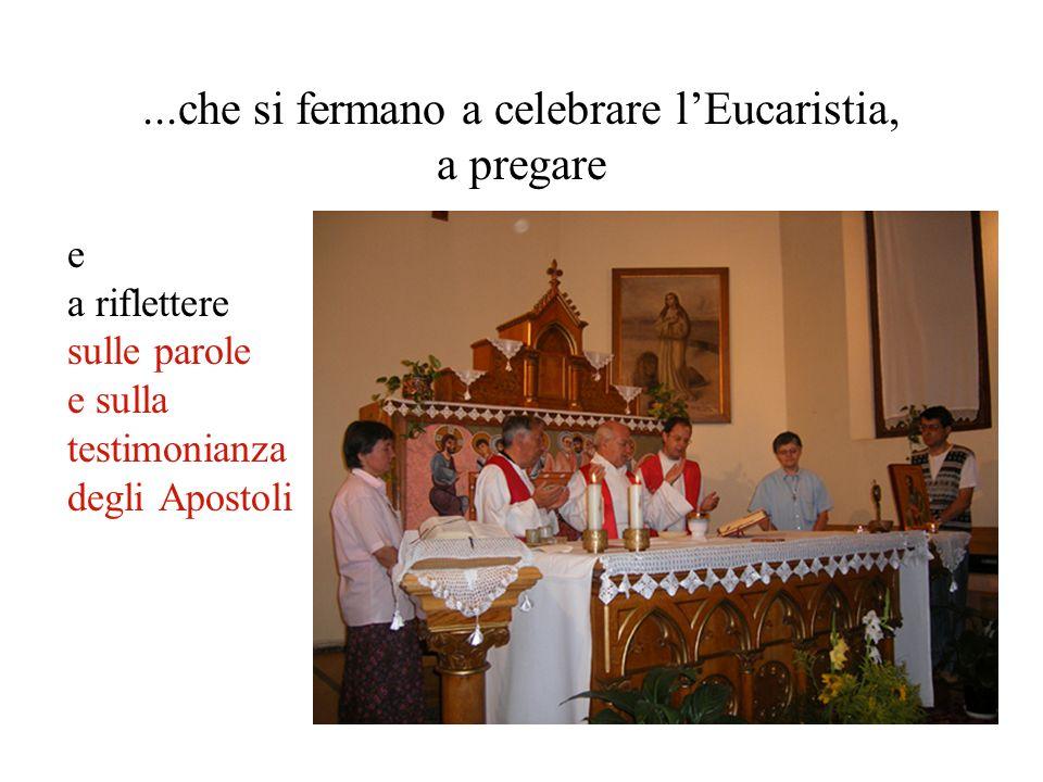 ...che si fermano a celebrare lEucaristia, a pregare e a riflettere sulle parole e sulla testimonianza degli Apostoli