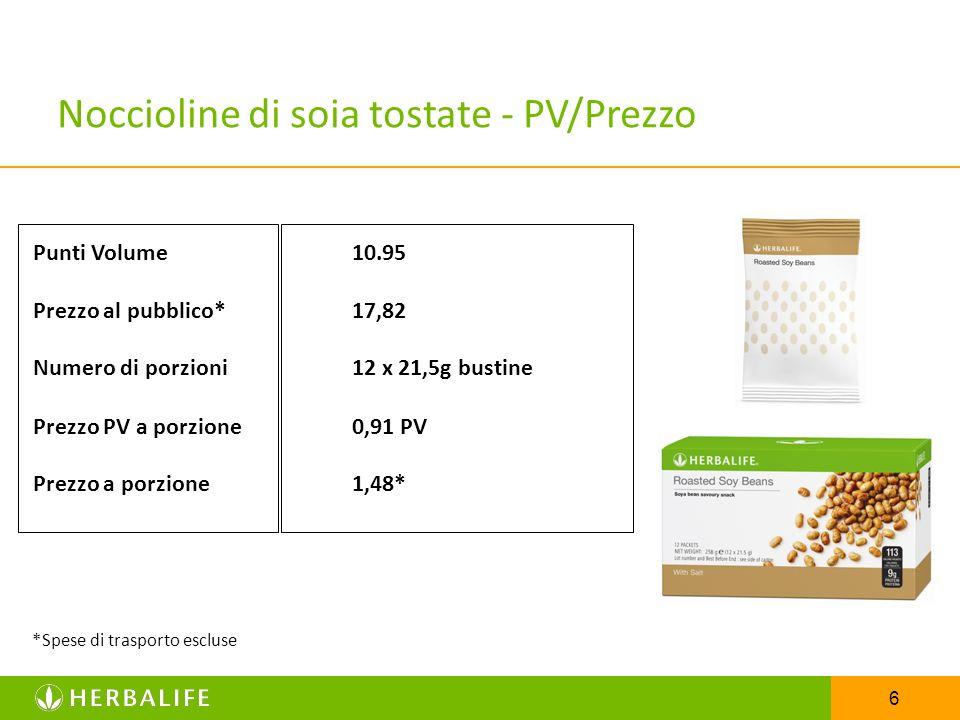 6 Noccioline di soia tostate - PV/Prezzo Punti Volume10.95 Prezzo al pubblico*17,82 Numero di porzioni12 x 21,5g bustine Prezzo PV a porzione0,91 PV P