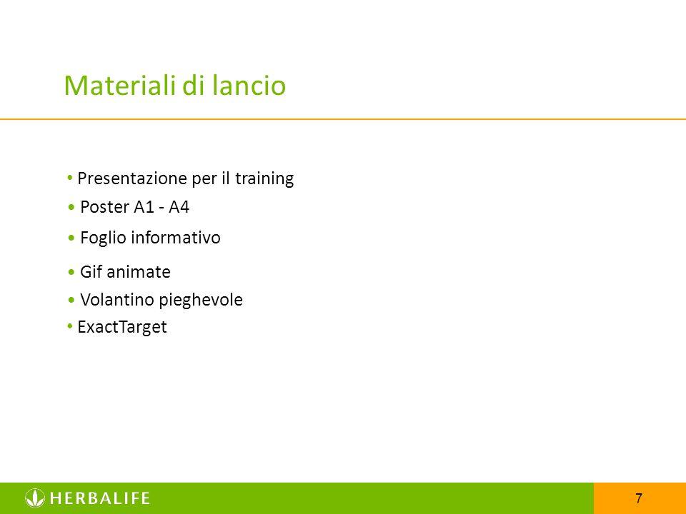 7 Materiali di lancio Presentazione per il training Poster A1 - A4 Foglio informativo Gif animate ExactTarget Volantino pieghevole