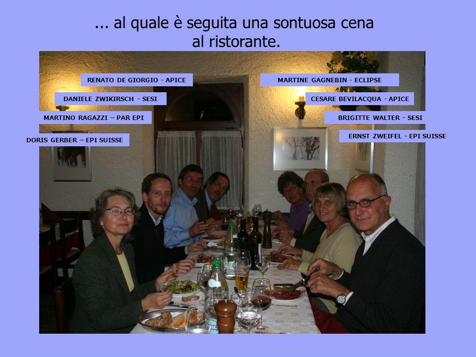DORIS GERBER – EPI SUISSE MARTINO RAGAZZI – PAR EPI DANIELE ZWIKIRSCH - SESI RENATO DE GIORGIO - APICEMARTINE GAGNEBIN - ECLIPSE CESARE BEVILACQUA - APICE BRIGITTE WALTER - SESI ERNST ZWEIFEL - EPI SUISSE...