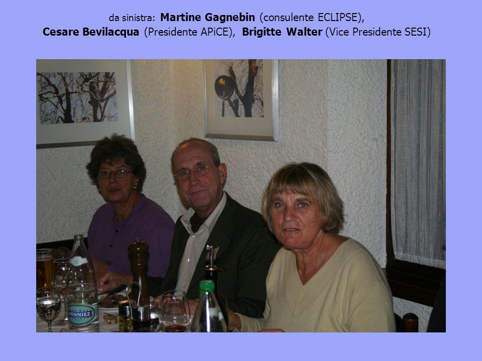 da sinistra: Martine Gagnebin (consulente ECLIPSE), Cesare Bevilacqua (Presidente APiCE), Brigitte Walter (Vice Presidente SESI)