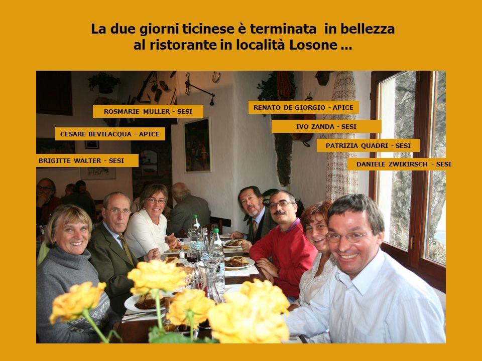 BRIGITTE WALTER - SESI CESARE BEVILACQUA - APICE ROSMARIE MULLER - SESI RENATO DE GIORGIO - APICE IVO ZANDA - SESI PATRIZIA QUADRI - SESI DANIELE ZWIKIRSCH - SESI La due giorni ticinese è terminata in bellezza al ristorante in località Losone...