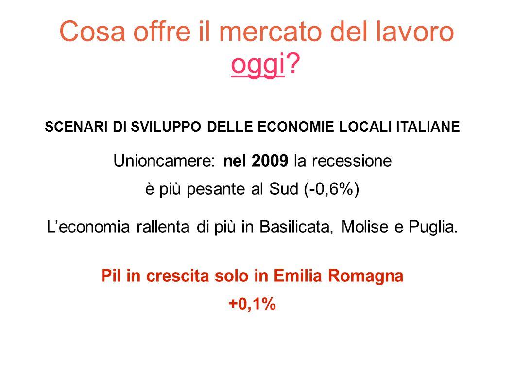 Cosa offre il mercato del lavoro oggi? SCENARI DI SVILUPPO DELLE ECONOMIE LOCALI ITALIANE Unioncamere: nel 2009 la recessione è più pesante al Sud (-0