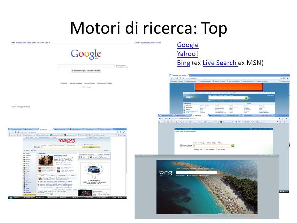 Motori di ricerca: Top Google Yahoo! BingBing (ex Live Search ex MSN)Live Search