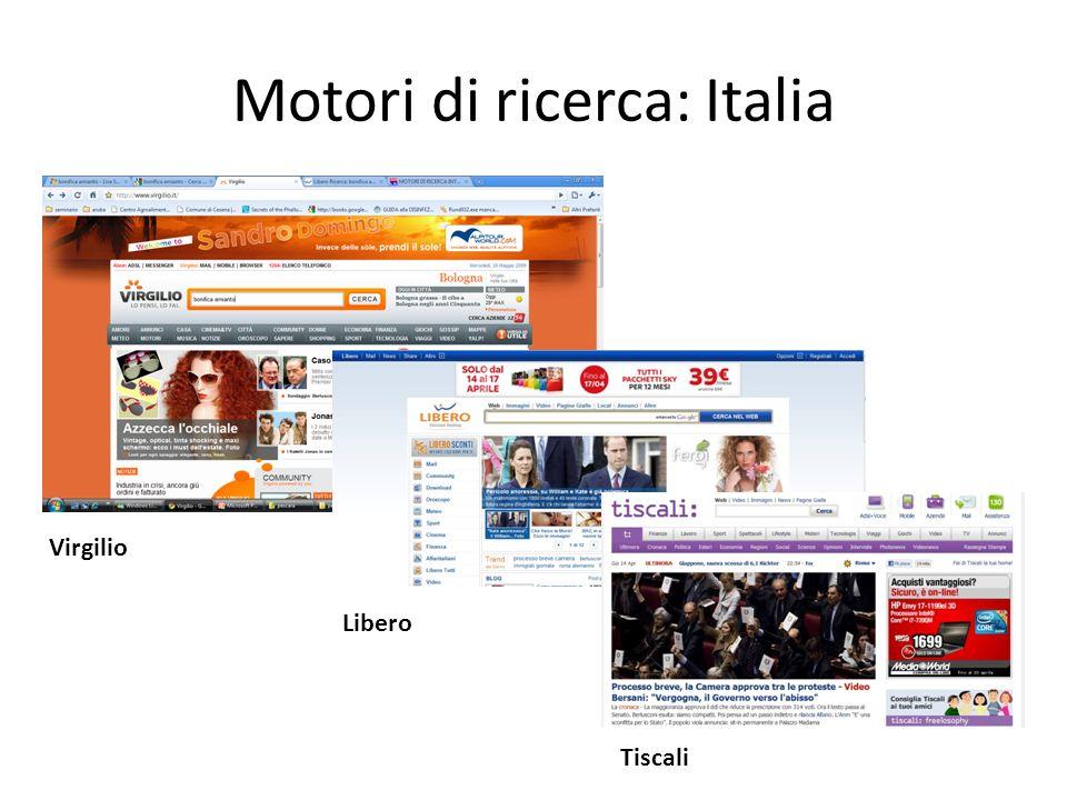 Motori di ricerca: Italia Virgilio Libero Tiscali