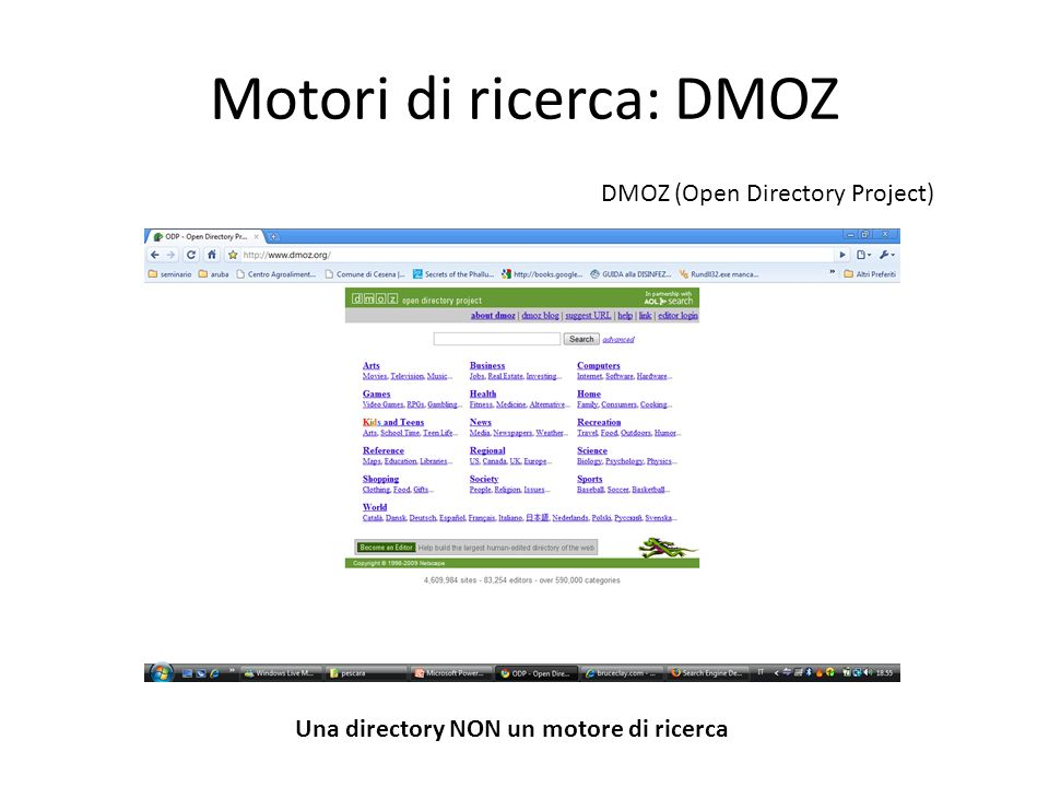 Motori di ricerca: DMOZ DMOZ (Open Directory Project) Una directory NON un motore di ricerca